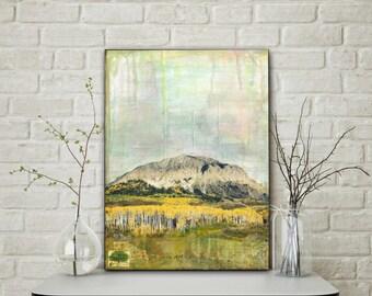 "Colorado Art, 12x16"" Original Mixed Media Art, Landscape Art, Mixed Media Photography, Mixed Media Painting, Mountain Art, ""Crested Butte I"""
