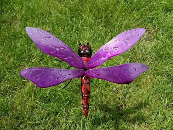 """Dragonfly 3D outdoor garden sculpture, stainless and recycled steels, 18"""""""