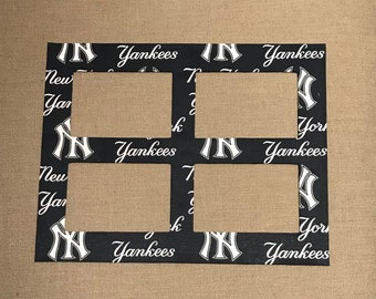 Sports Fan Photo Mat Made With NY Yankees Fabric (for 11 x 14 frame with four openings for 4x6 photos)