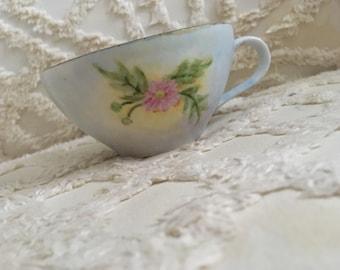 Vintage tea cup, floral tea cup, blue teacup, hand painted teacup, hand painted china, pico