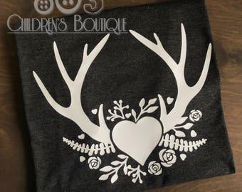 Deer Antlers Love Valentine's Day Love Shirt