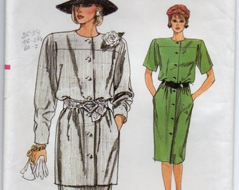 Loose Fitting Straight Dress Or Tunic Shoulder Pads Skirt With Waistband Size 8 10 12 Sewing Pattern 1986 Very Easy Vogue 9516