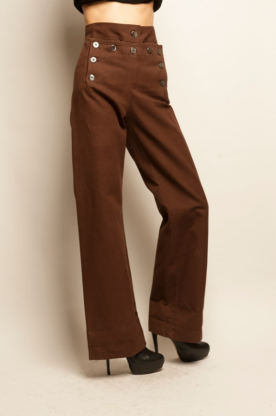 Brown cotton sailor trousers