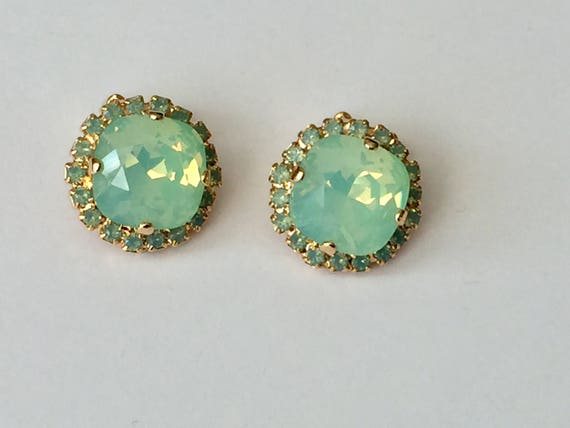 Chrysolite Opal and Pacific Opal Swarovski Crystal Clip On Earrings, Yellow Gold
