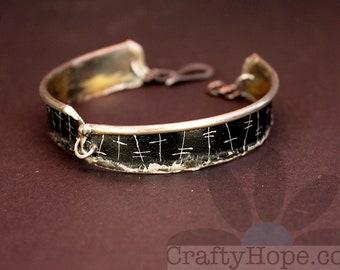 Tin Edge Bracelet - reclaimed tin, upcycled, soldered edge, hook clasp