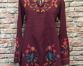 Vintage Johnny Was Embroidered Tunic  Size Small
