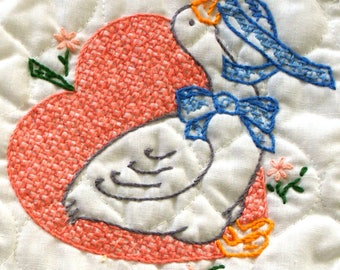 Completed - Finished - DECORATIVE-DUCKS - Cross Stitch -Set of 2 Pot Holders