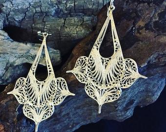 Silver 950 Filigree Earrings Boho Style