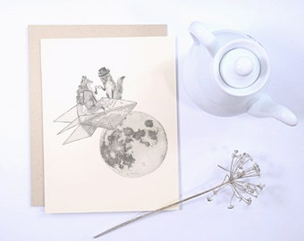 1 Blank Greeting Card: Foxes on paper rocket with top hat and monocle, whimsical steampunk handmade card