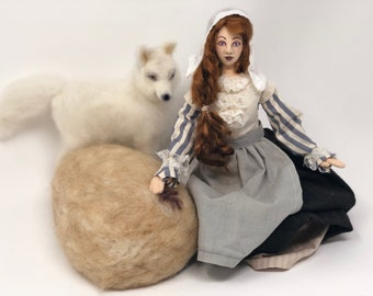 Witch Moll Dyer, OOAK, cloth art doll, needle felted white wolf, Puritan dress style, Halloween decoration, posable with doll