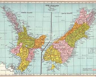 1940s Antique large Vintage NEW ZEALAND original coloured map aqua blue ocean green border framing
