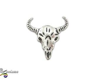 Native Tribal Shaman Cow Skull Lapel Pin