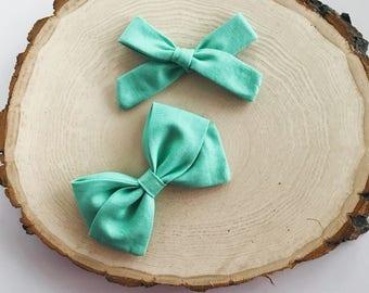 s e a f o a m fabric bow, mint bow, fabric bow, sailor bow, spring bows