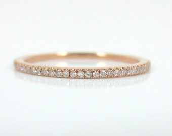 Micro Pave Diamond Eternity Band in 18k Rose Gold