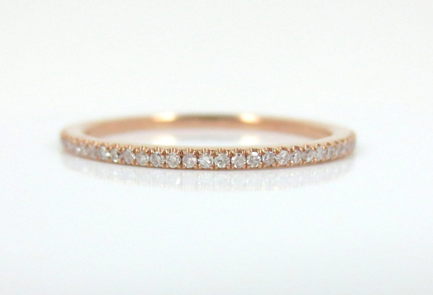 sylvie half row gold double bands eternity in diamond rose band