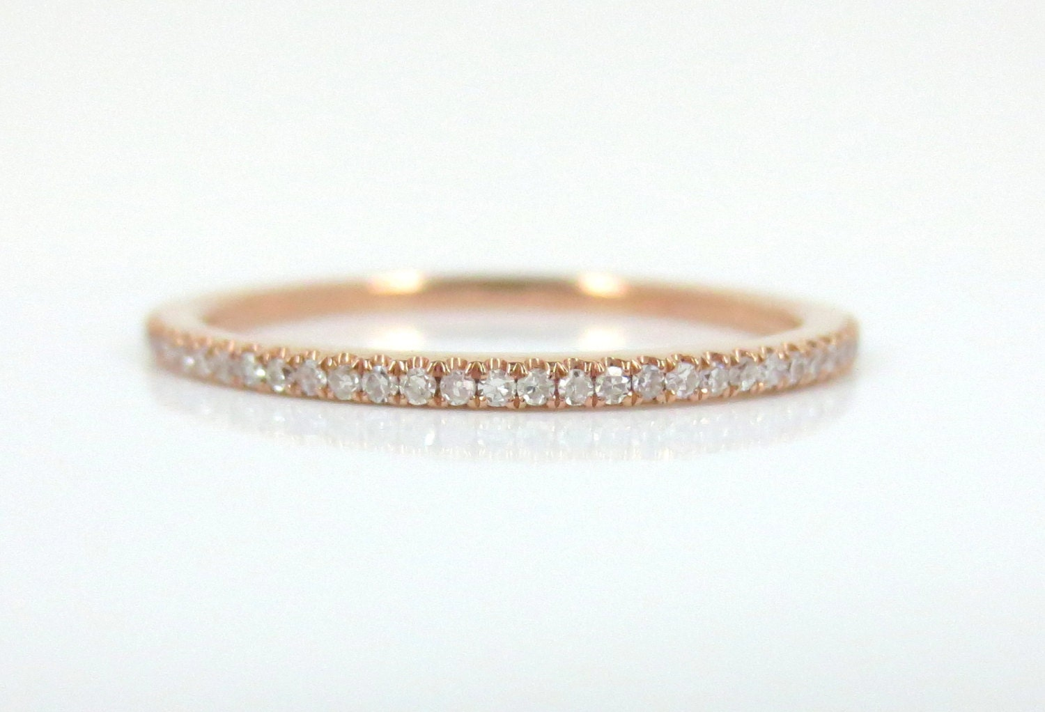 band ct pave bands diamond gold tw wedding eternity in rose