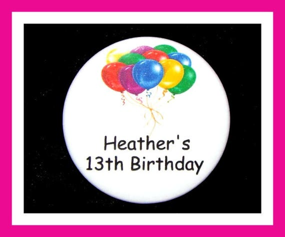 Birthday Party Favor, Personalized Button,Balloons Pin Favor,School Favor,Kid Party Favor,Boy Birthday,Girl Birthday,Pin,Favor Tag Set of 10
