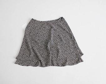 90s floral skirt | black and white floral skirt | sheer layered skirt