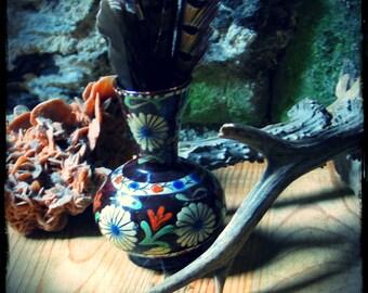 French traditional pottery, vintage French vase, vintage terra cotta vase, flower vase, folk art vase