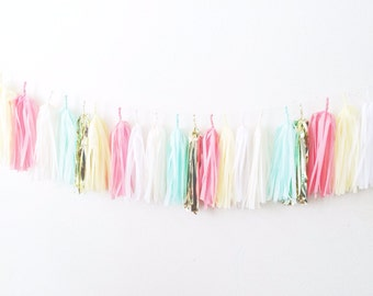coral, yellow, mint, gold, ivory tissue paper banner, coral yellow fringe, coral yellow mint party, 8ft tassel garland: 20 tassels on a rope