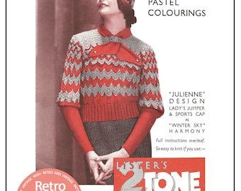 1930s Jumper and Sports Cap Vintage Knitting Pattern- PDF  Instant Download