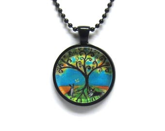 Boston Terriers Summer Spiritual tree of life painting print Art Glass Pendant Necklace