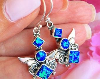 Blue Fire Opal Angel Alchemy Earrings
