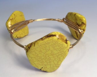 Yellow Magnesite Slab Wire Wrapped Bangle, Wire Bangle, Wire Wrapped Bracelet, Stackable Bangle