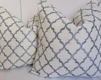 Blue Pillow Cover -20x20 Pillow - Pillow Cover -Blue Ivory Pillow -Ivory Pillow -Decorative Pillow -Geometric Pillow - Blue Designer Pillow