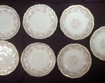 7 Pieces Antique Theodore Haviland Schleiger 844, 4 Saucers & 3 Berry Bowls, Porcelain