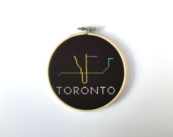 Toronto Cross Stitch, Canadiana, Toronto Art, Home Decor, Canada Gift Idea, Housewarming, Going Away Gifts, Completed Cross Stitch