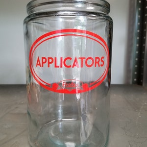 Vintage Medical Office Profex Applicators Glass Jar with Stainless Steel Lid Doctor's Office with no lid
