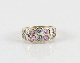 Gold over Sterling Pink and White cz Ring size 7