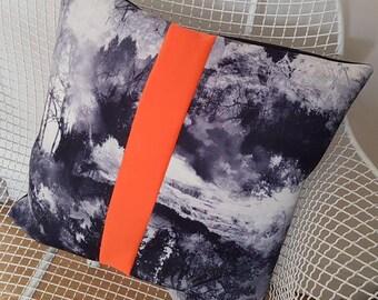 Neoprene printed cushion with neon stripe