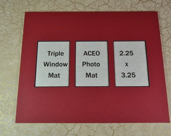 ACEO Photo Mat - Triple Window ACEO Mat - 8x10 with 3 ACEO Windows Lot of (3)