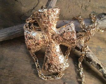 Vintage Gold Tone Sarah Coventry Cross Necklace