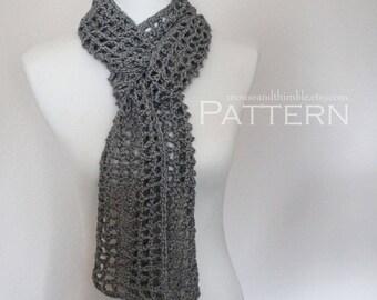 Crochet PATTERN / Skinny Scarf / Open Mesh / Unisex / Quick & Easy / PDF 1206