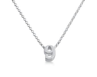 Number Nine ( 9 ) Symbol Serif Font Charm Pendant Necklace #925 Sterling Silver #Azaggi N0597S_9