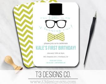 Little Man Birthday Invitation, mustache birthday invite, top hat birthday, hipster birthday invitation, boys birthday invite, moustache