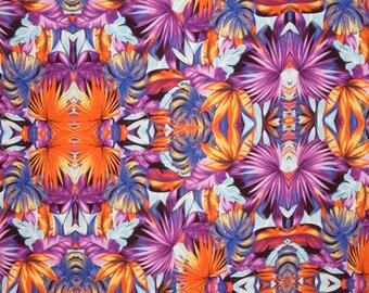 SPECIAL--Purple and Orange Exotic Ethnic Print Rayon Challis Fabric--One Yard