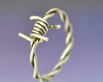 Barbed Wire Silver Ring.