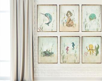 Ocean wall art for girls, Mermaid, Seahorse, Dolphin - nursery decor sea - Nursery Decor - Childrens Art - Kids Wall Art - Nursery Art
