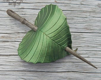 Olive Green Leaf Leather Hair Accessory, Shawl Pin or Hair Stick Barrette - Small to Medium Size Hair Pin, Birch Leaf, Naturalist Gift