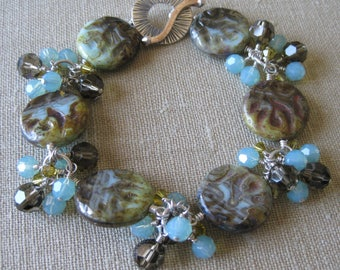 Brown and Pale Blue Czech Glass and Swarovski Crystal Cluster Dangle Bracelet with Radiating Toggle Clasp
