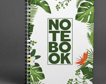 Green Notebook Palms Notepad Tropical Notebook Leaves Writing journal Summer Notepad Spiral Notebook Hipster Notebook Palm Planner Notebook