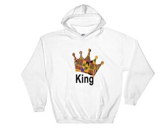 Hooded Sweatshirt, Kente King Crown, African clothing, Wedding, Graduation, Birthday.