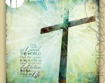 John 3:16 Cross Christian Art Gallery Wrapped Canvas