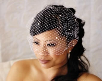 15 inch Bandeau Birdcage Veil with Pearls