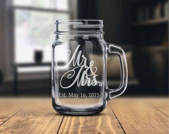 Personalized Gift • Mason Jar • Mason Jar Mug • Country/Rustic/Barn Wedding Gift • Anniversary Gift • Gift For Couple • Mr. & Mrs.