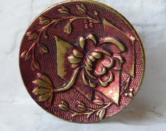 22mm Antique brass red tint Picture button~Floral pattern~Scarce design